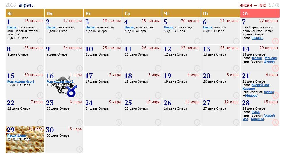 календарь на 2016-й год с израильскими праздниками
